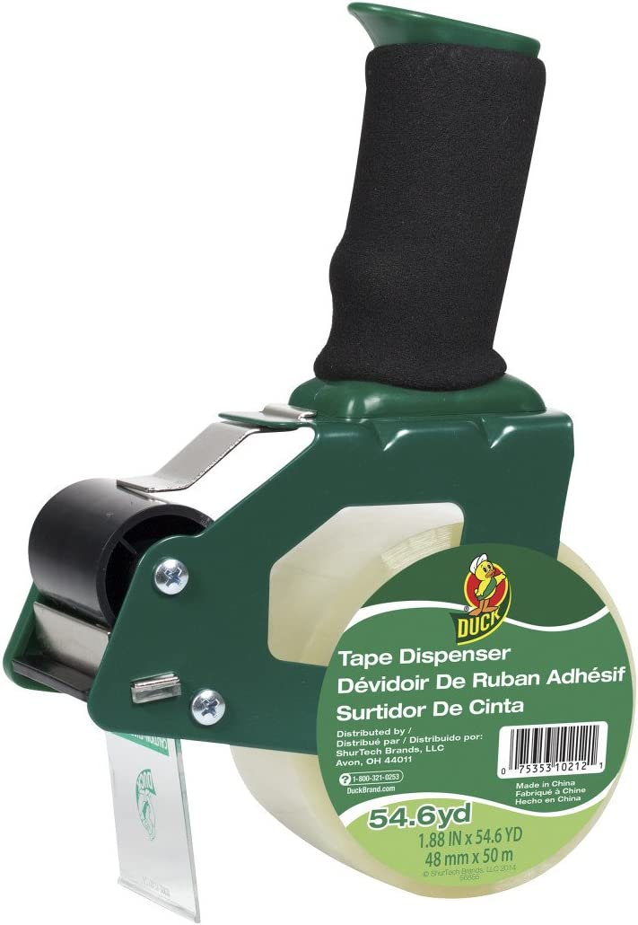 Duck Brand Standard Tape Gun with Foam Handle, Includes 1 Roll of 54 Yard Standard Tape (669332), Green/Black : Packing Tape Dispensers : Office Products
