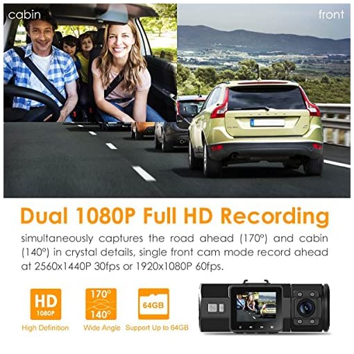 VANTRUE N2 Pro Dual Dash Cam Dual 1920x1080P Front and Rear Dash Cam (2.5K Single Front Recording) 1.5″ 310° Car Dashboard Camera w/Infrared Night Vision, Sony Sensor, Parking Mode, Motion Detection Car and Vehicle Electronics camera