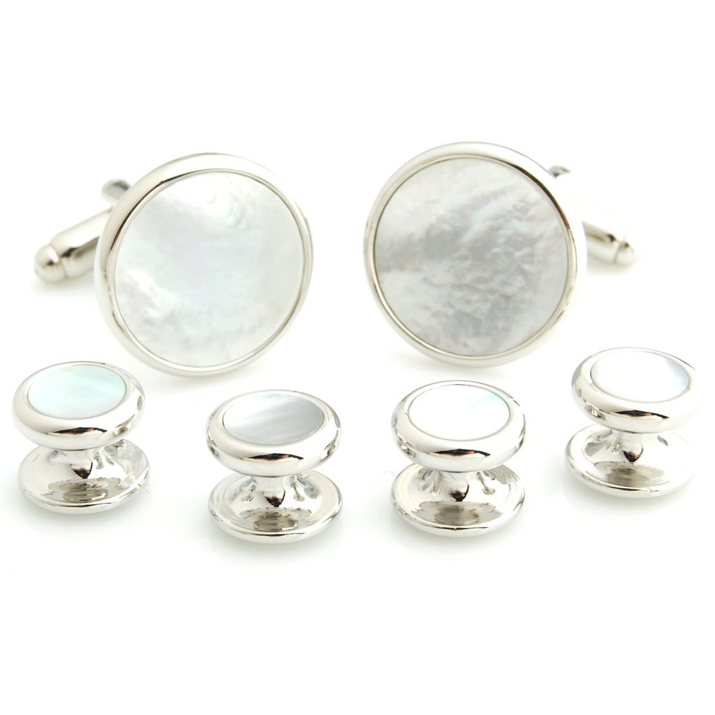 The Smart Man Classic Austere Round Stone Cufflinks and Tuxedo Studs Set for Mens Gift - White and Silver