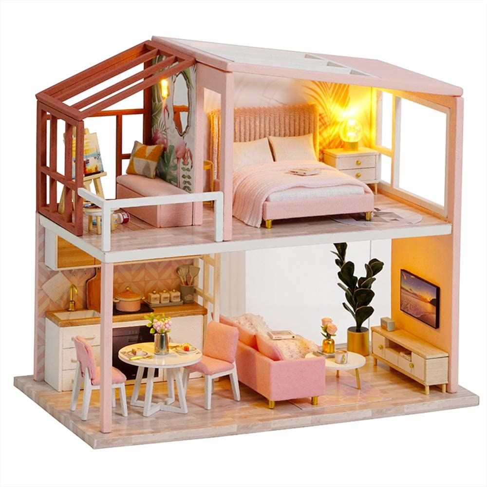 Fsolis DIY Dollhouse Miniature Kit with Furniture, 3D Wooden Miniature House with Dust Cover, Miniature Dolls House kit (QL03)