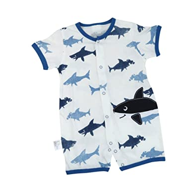 67ad95e807a Lavany Toddler Newborn Baby Boy Tops Short-Sleeve Shark Romper Jumpsuit  Clothes (3 Months