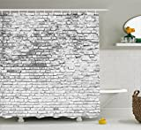 Rustic Home Decor Shower Curtain by Ambesonne, Worn and Cracked Grunge Stained Brick Wall Masonry Architecture Image, Fabric Bathroom Decor Set with Hooks, 70 Inches, White Grey