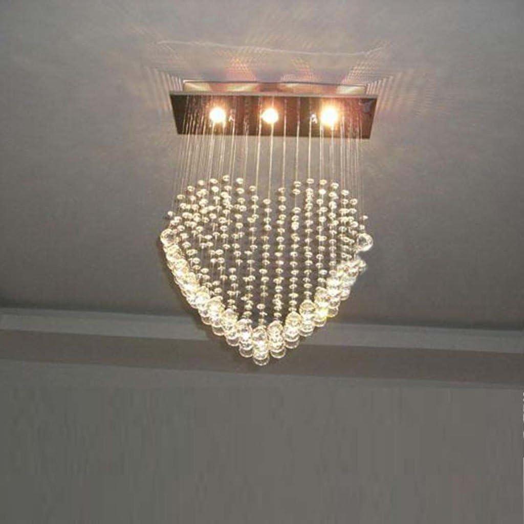 Aglow Intl/®Modern 3 Light Heart-Shaped Ceiling Light Chandelier with K9 Crystal Cascade Drops
