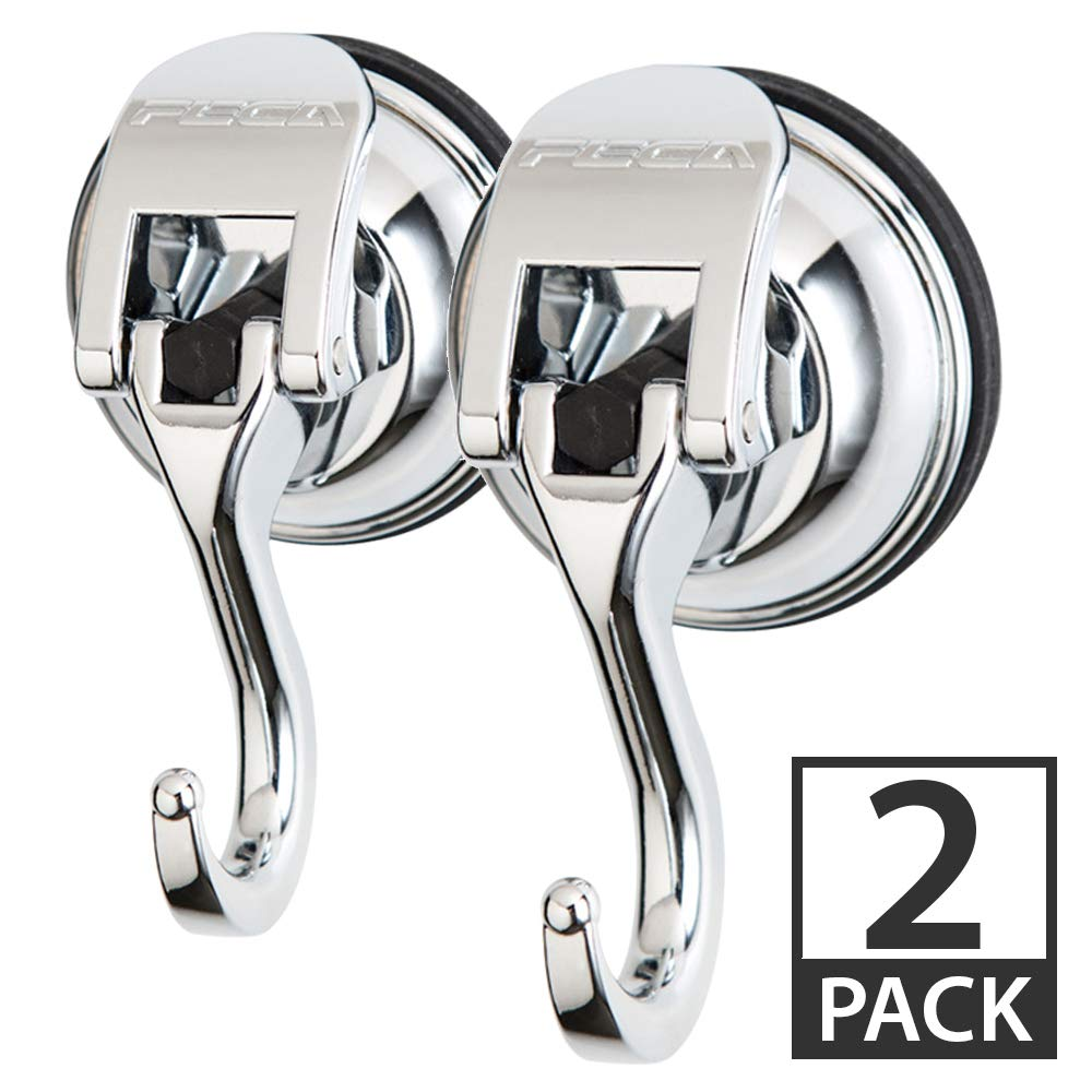Fe-H2003-2PK | 2 Pack | Powerful Push and Lock Stainless Steel Metal Kitchen, Shower, Bathroom Organizer, Towel Coat, Swivel Suction Hook Holds up to 13 lbs in Chrome