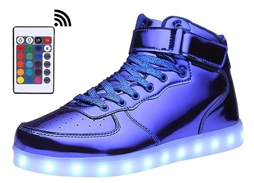 c322295b7a MOHEM ShinyNight High Top LED Shoes Light Up USB Charging Flashing Sneakers(1687003ShiningBlue35)   Amazon.co.uk  Shoes   Bags
