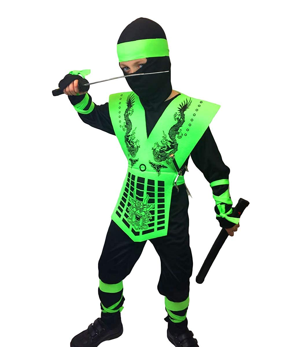 Rubber Johnnies Neon Ninja Costumes, Kids, Costume (4-6 Years, Neon Green)