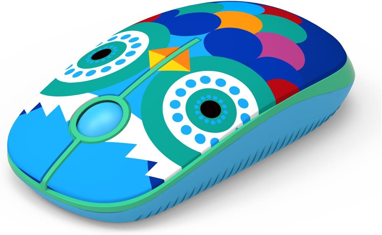 Jelly Comb Ratón Inalámbrico de 2,4 GHz con Receptor Nano para Ordenador Portátil/Macbook/Tableta, Preciso y Silencioso (búho)
