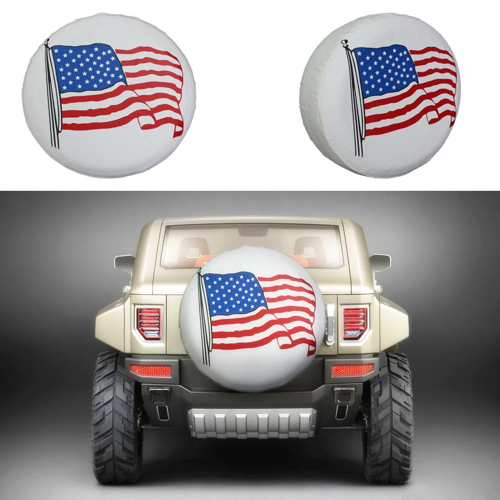Spare Tire Cover 17 inch American Flag White Waterproof Universal Wheel Tire Covers for RV Jeep Trailer Honda CRV Toyota RAV4 SUV Camper (17'' for diameter 31''-33'') by Tsofu (Image #2)