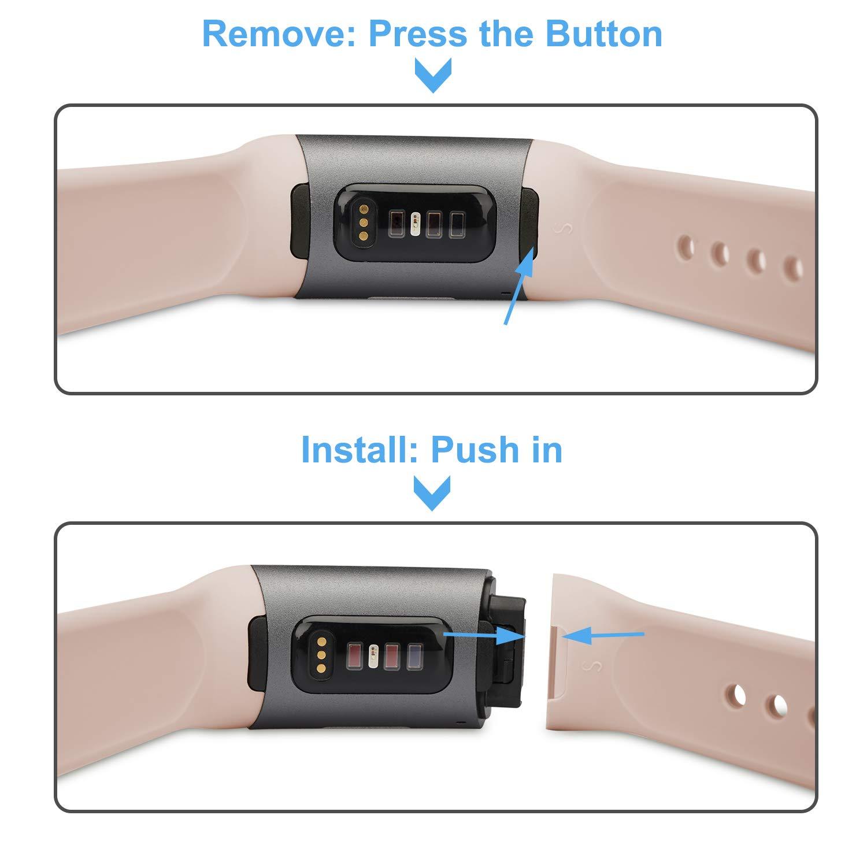 apiker Armband kompatibel für Fitbit Charge 3, (3+1 Stück) Fitbit Charge 3 Armband Verstellbare Weiches Silikon Sport Ersatz Fitness für Ersatzarmband Fitbit Charge 3, jn mit etw Schutzhülle