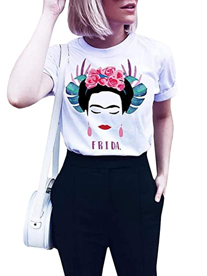 9b045da7 Amazon.com: Womens Frida Kahlo Shirts Personalized Artist Summer Short  Sleeve Graphic Tees Tops: Clothing