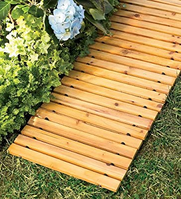 Plow & Hearth Portable Roll Out 6' FT Cedar Slatted Wooden Straight Pathway for Yard and Garden, 72 L x 18 D x 6 H