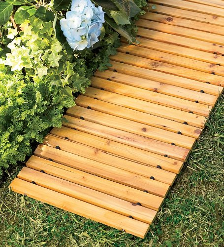 Plow & Hearth Portable Roll Out 6' FT Cedar Slatted Wooden Straight Pathway for Yard and Garden, 72 L x 18 D x 6 ()