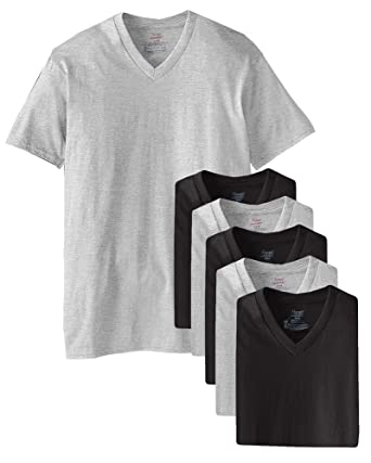 28e3e8ae Image Unavailable. Image not available for. Color: Hanes Men's 6 Pack  Ultimate FreshIQ V-Neck T-Shirt ...
