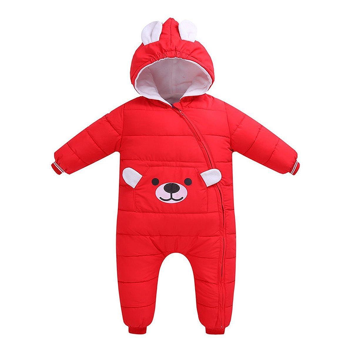 Little Girls Boys One Piece Winter Zipper Cartoon Bear Hooded Puffer Down Jacket Jumpsuit Snowsuit Vchirtsy0200