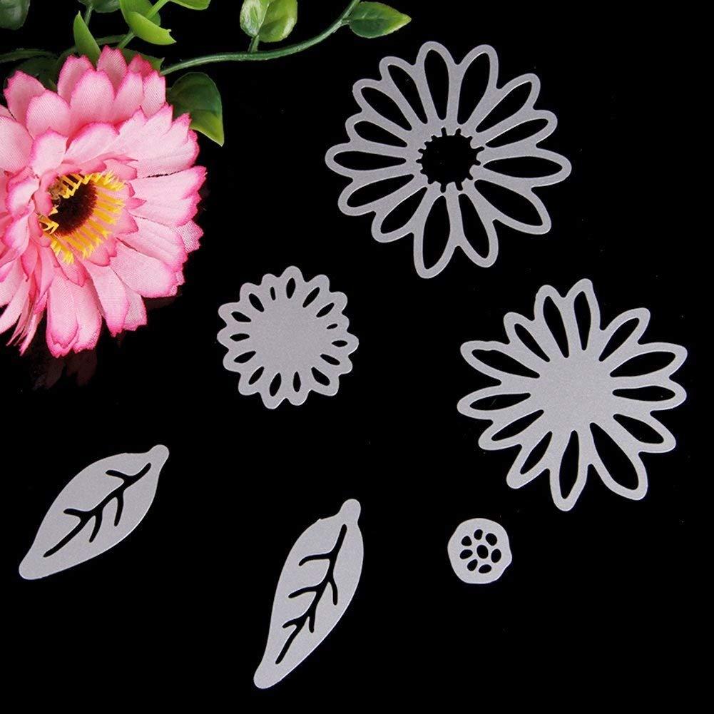 Delight eShop 6pcs Flowers Leaves Metal Cutting Dies Stencils Set For DIY Scrapbooking Photo Album Paper Card by Jugtech (Image #2)