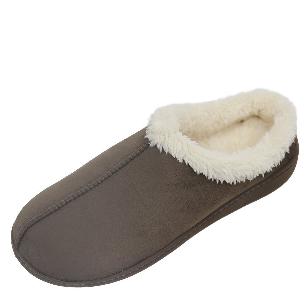 Home Slipper Men's Comfortable Short Plush Lined Soft Sole Closed-Toe House Slippers,US 8/9 Saddle Brown by Home Slipper (Image #1)
