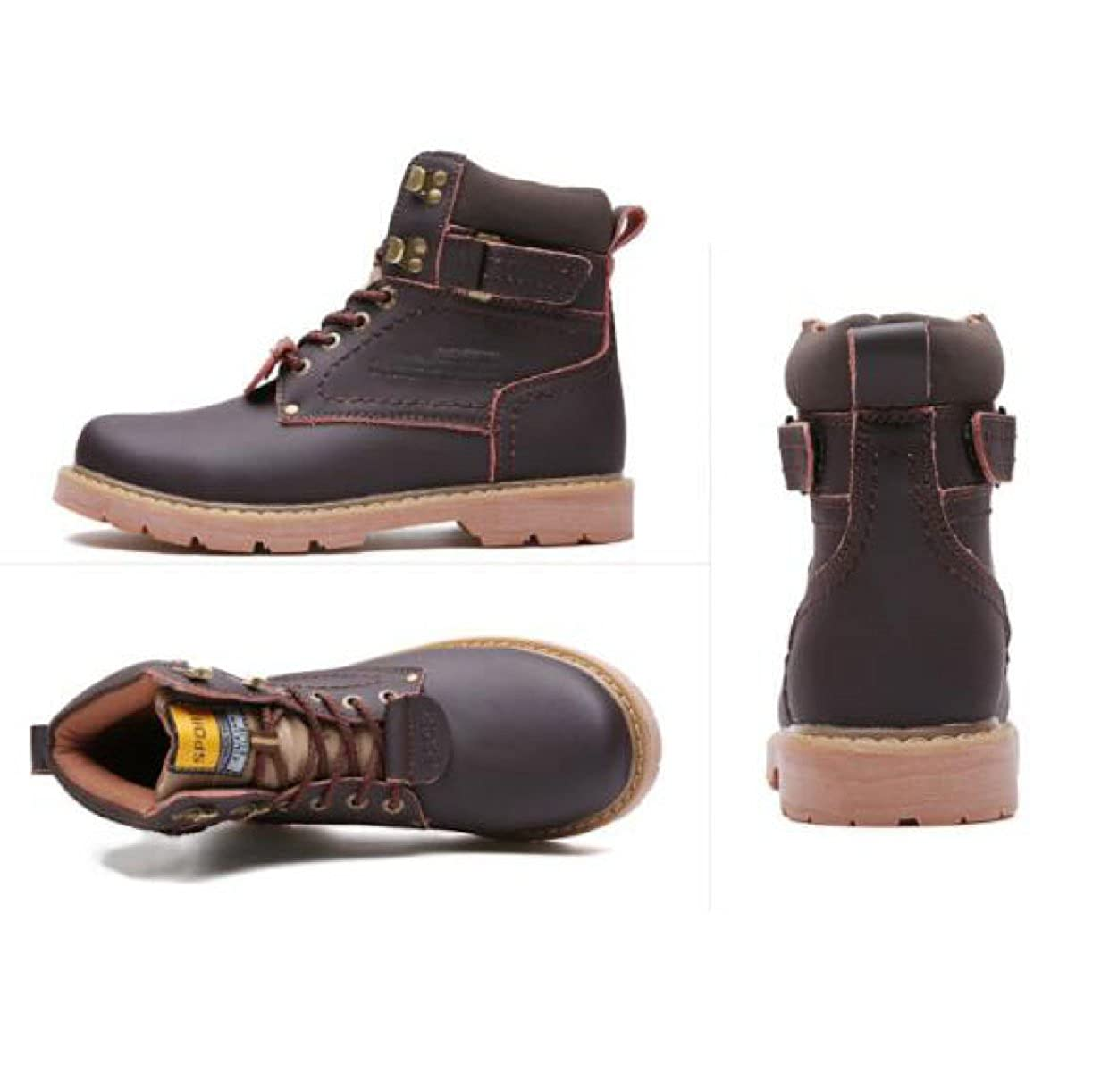 Winter Lederstiefel England Martin Stiefel Lässige Stiefel Stiefel Runden Kopf Retro Stiefel Lässige Mode Beliebte Stiefel schwarzCotton 688875