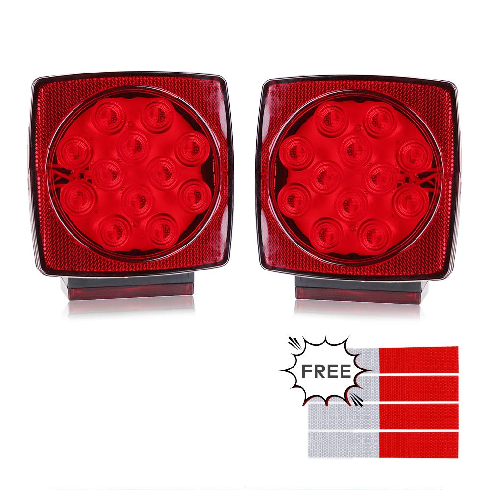 BougeRV 12V Square Trailer Light Kit Red White LED Stop Turn Tail License Brake Trailer Light for Camper Truck RV Boat Snowmobile