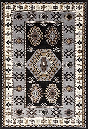ADGO Medeo Collection Modern Ethnic Anatolian Kilim Motifs Bohemian Geometric Live Multicolor Design Jute Backed Turkish Area Rugs High Pile Well Spaced Soft Indoor Floor Rug, Black Grey, 3 x 5