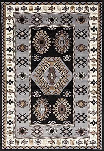 ADGO Medeo Collection Modern Ethnic Anatolian Kilim Motifs Bohemian Geometric Live Multicolor Design Jute Backed Turkish Area Rugs High Pile Well Spaced Soft Indoor Floor Rug, Black Grey, 5'2