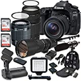 Canon EOS 80D Wi-Fi Full HD 1080P Digital SLR Camera with Canon EF-S 18-55mm f/3.5-5.6 IS STM Lens + Canon EF 75-300mm f/4-5.6 III Lens + 500mm f/8 Telephoto Preset Lens