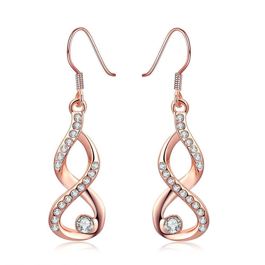 'adisaer plaqué or 18K Boucles d'oreilles diamant cristal infini–Boucles d'Oreilles Pendantes Gouttes Zirconium Infinity