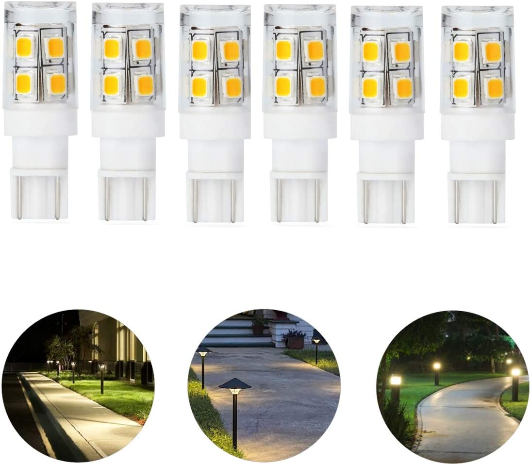 Low Voltage Landscape Replacement led Light Bulb 12v T5 T10 Wedge Base 25W Equivalent 1.5W 240lm for Garden Path Light Deck Light,Walkway Lawn Light warmwhite 3000K Pack of 6