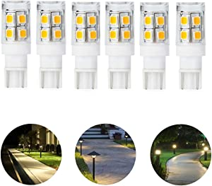 12V 24V Low Voltage Landscape Replacement led Light Bulb T5 T10 Wedge Base 25W Equivalent 240lm 1.5 W for Garden Path Light Deck Light Walkway Lawn Lights Cool White 6000K Pack of 6