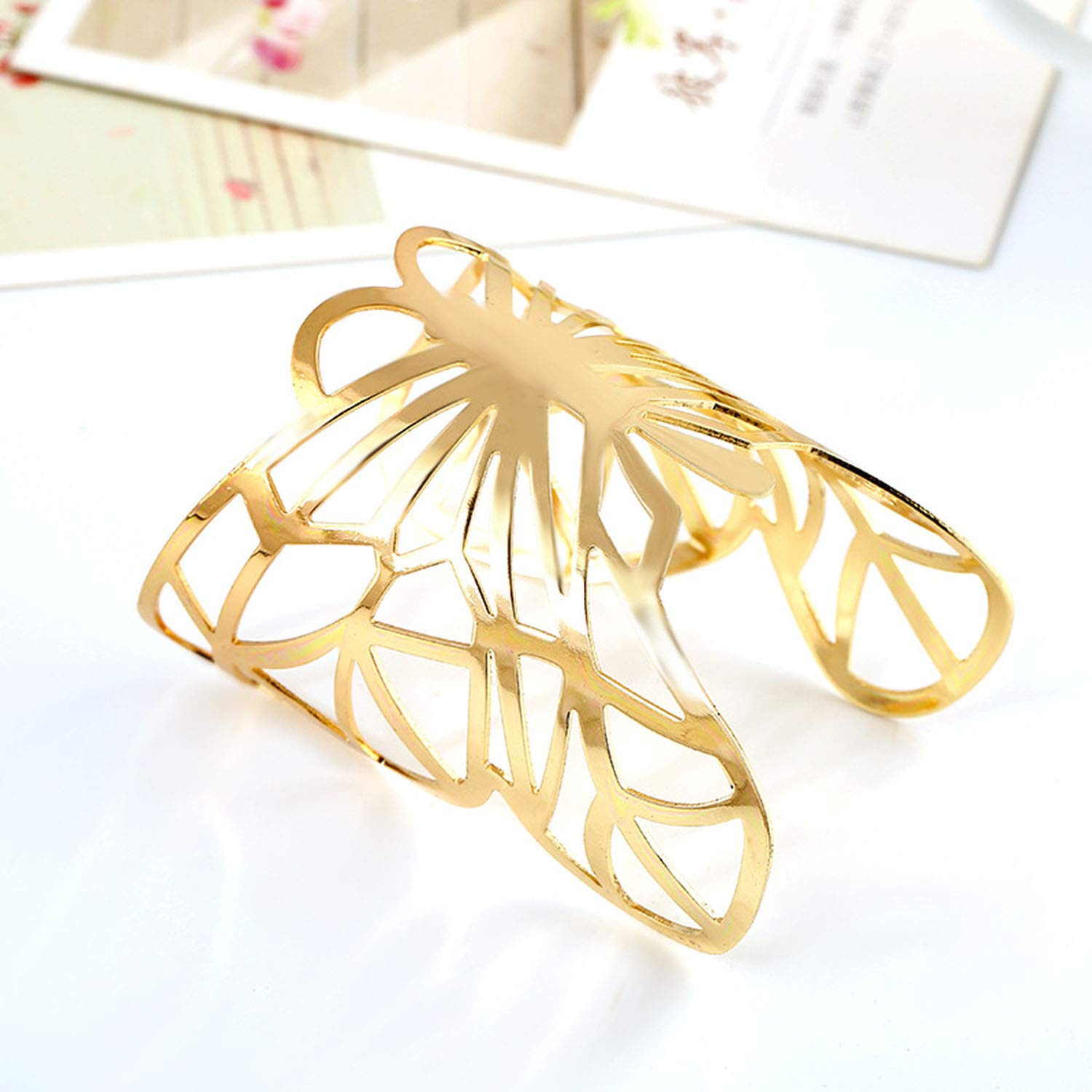 xiaoxiaoland Metal Plated Hollow Butterfly Bangle Women Wide Cuff Bangle Geometric Bracelet Wristband Accessories
