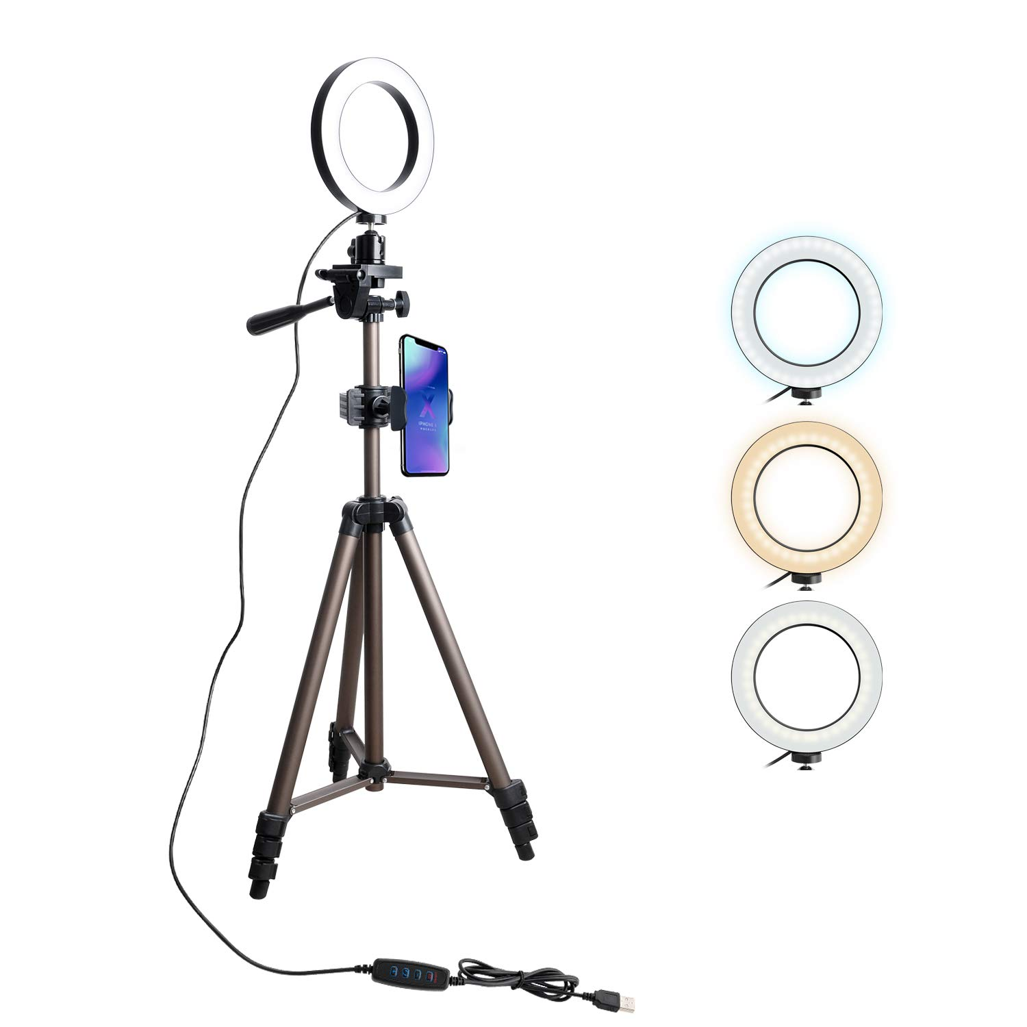 Tryone Ring Light Stand - Phone Tripod Stand, Live Stream Stand with 5.7'' LED Ring Light for YouTube Video or Makeup, 3 Light Modes & 10 Brightness Levels by Tryone