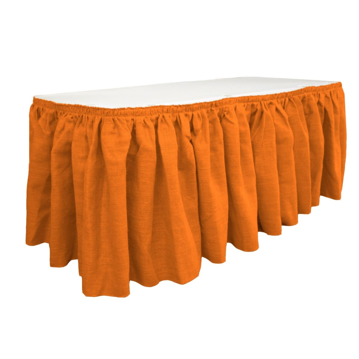 LA Linen SkirtBurlap17x29-10Lclips-Orange Burlap Table Skirt with 10 L-Clips44; Orange - 17 ft. x 29 in.