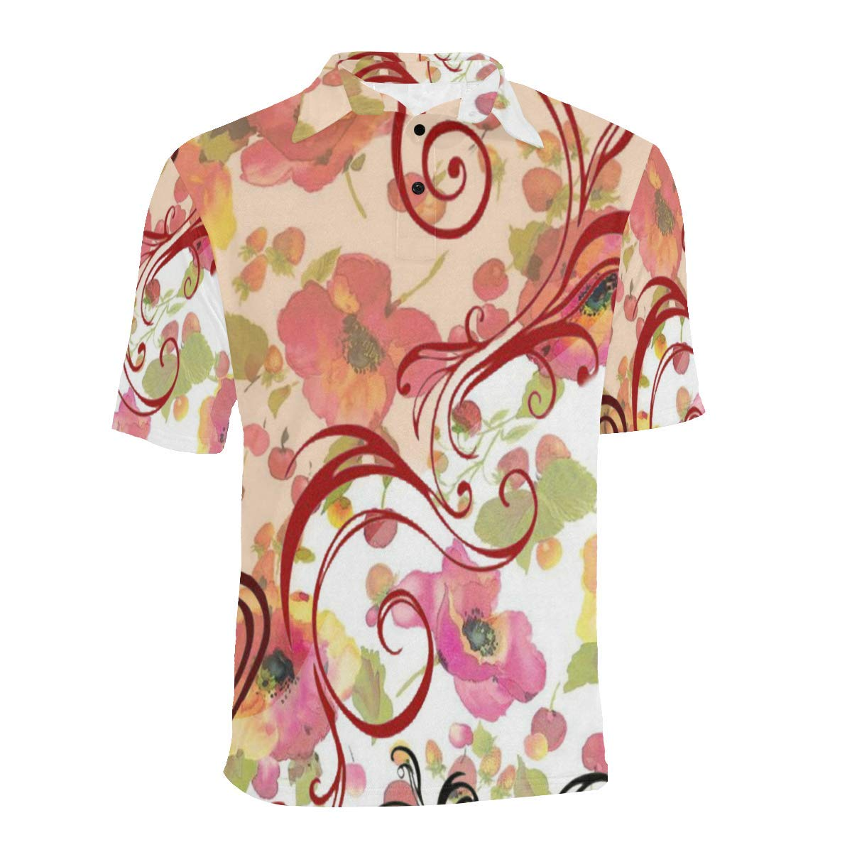 BrowneOLp Short Sleeve Beautiful Flowers Mens All Over Print Polo Shirt