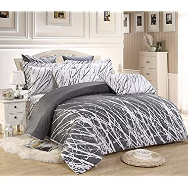 5pc Tree Duvet Cover Set: Duvet Cover, Two Pillow Shams and Two Euro Shams (Grey-White, Queen)