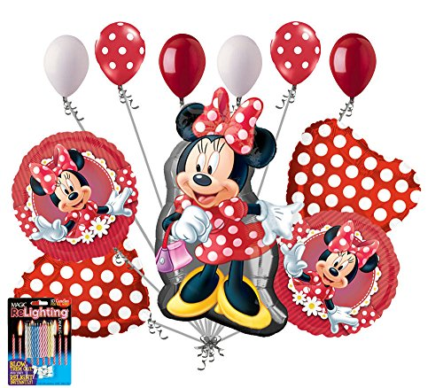 11pc Minnie Mouse Happy Birthday Balloon Bouquet Party Decoration Cartoon Disney (Happy Birthday Bouquet)