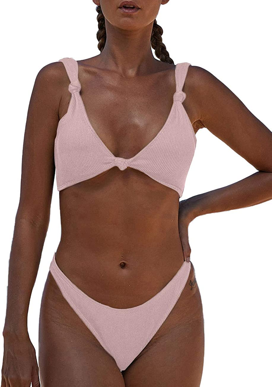 Bsubseach Push Up Bikini Bathing Suits for Women 2 Piece Swimsuit with High Cut Thong Bottoms