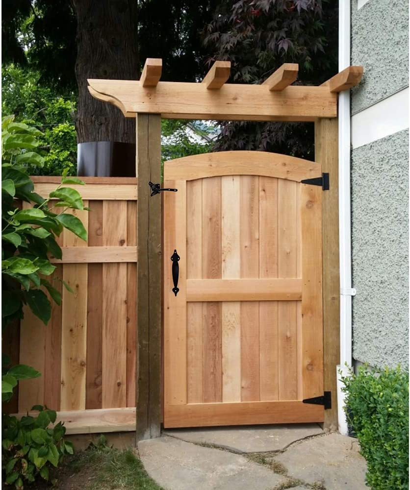 Gate Hardware Kit Heavy Duty,with Self Locking Gate Latch,6 inch T Strap Gate Hinges and 10 inch Gate Door Handle Pull,Shed Door Hardware Set for Wooden Vinyl Fence,Gate,Farm,Garden,Black Finish