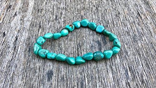 JP_Beads Turquoise Smooth Nugget Bracelet 8mm Green Blue Hubei Turquoise Nuggets Bracelet Teal Chinese Turquoise Gift Bracelet Unisex ()