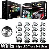 Partsam 4PCS 16Pods Truck Bed LED Lighting Kit Rear Work Box LED Strip Light Bar with 96LED White Tail Running Board Light for Truck Pickup Cargo Trailer RVs Boat