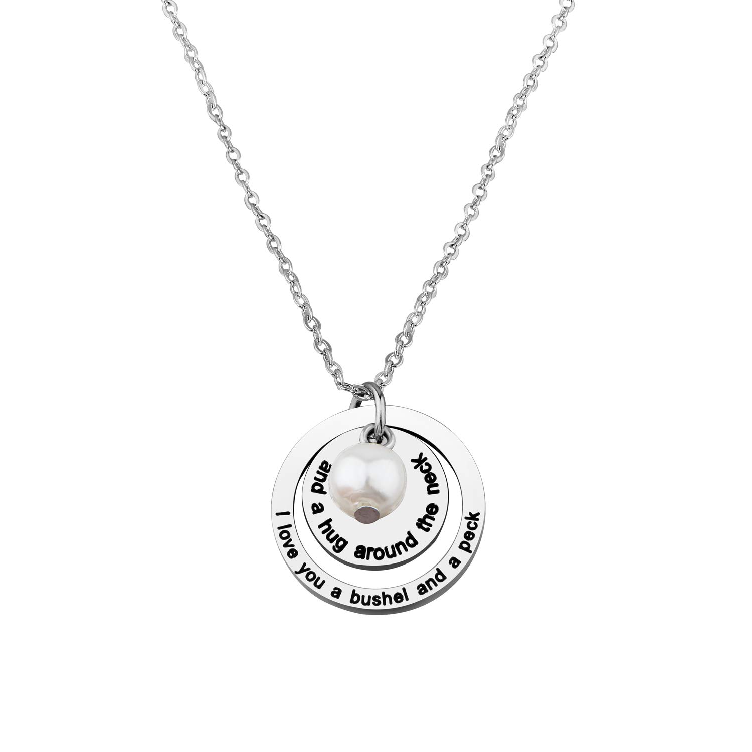 I Love You a Bushel and a Peck Necklace Gift for Mom Grandma (Silver)