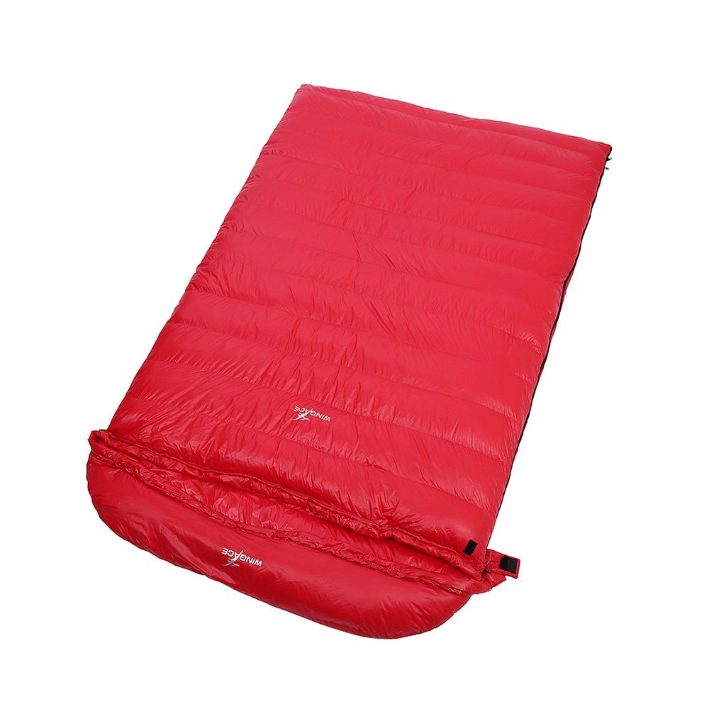 WINGACE 10度ダックダウンダブルスリーピングバッグ、1500g充填、エンベロープ、超軽量、圧縮サック付き B01MR6CLD9 赤 赤