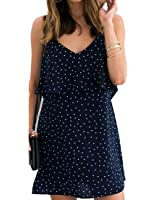 Cruiize Womens Chiffon Dot Backless Spaghetti Strap Casual Mini Dress