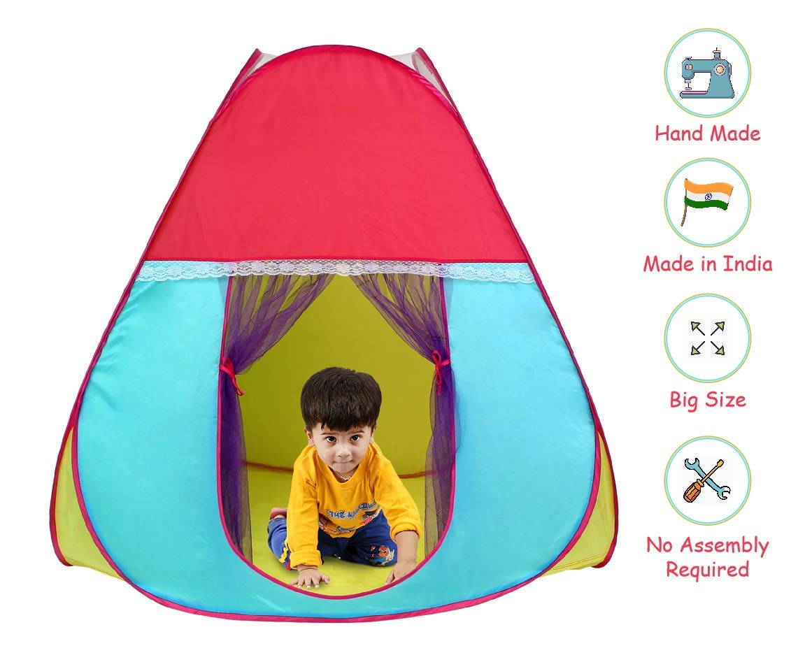 Playhood Foldable Pop-Up Play Tent House For Kids With Zip Carry Bag