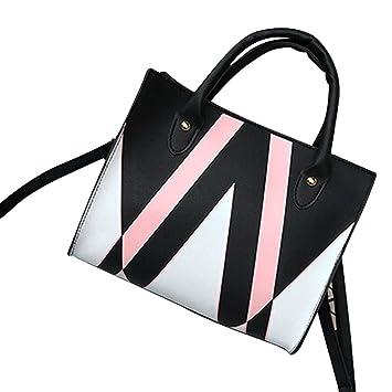 32d3ec42212 Woman Tote Bag, Neartime 2018 Casual Patchwork Zipper Bags Crossbody Bag  Leather Handbag Shoulder Bag (25cm(L)×21cm(H)×12cm(W), Black)  Beauty