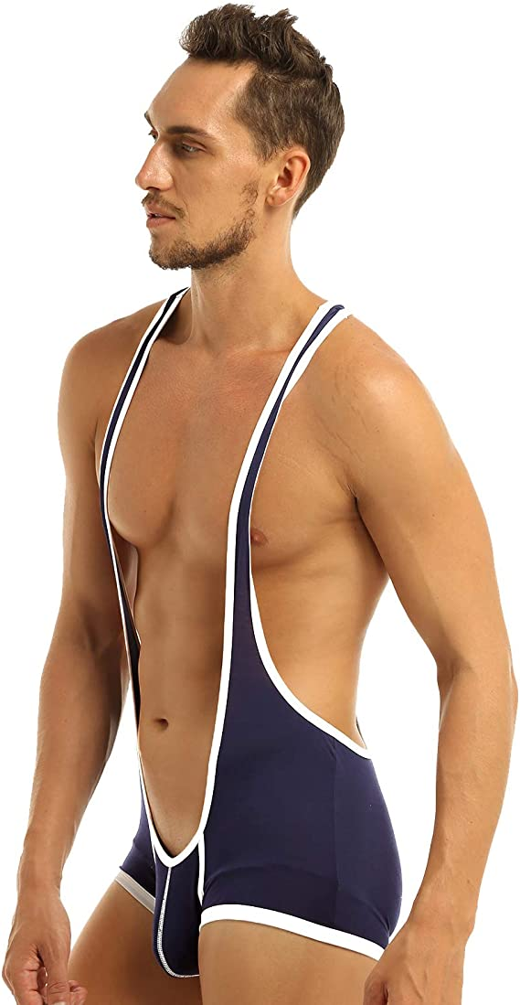 Men Mankini Suspender Belt Wrestling Singlet Leotard Bodysuit Underwear Swimwear
