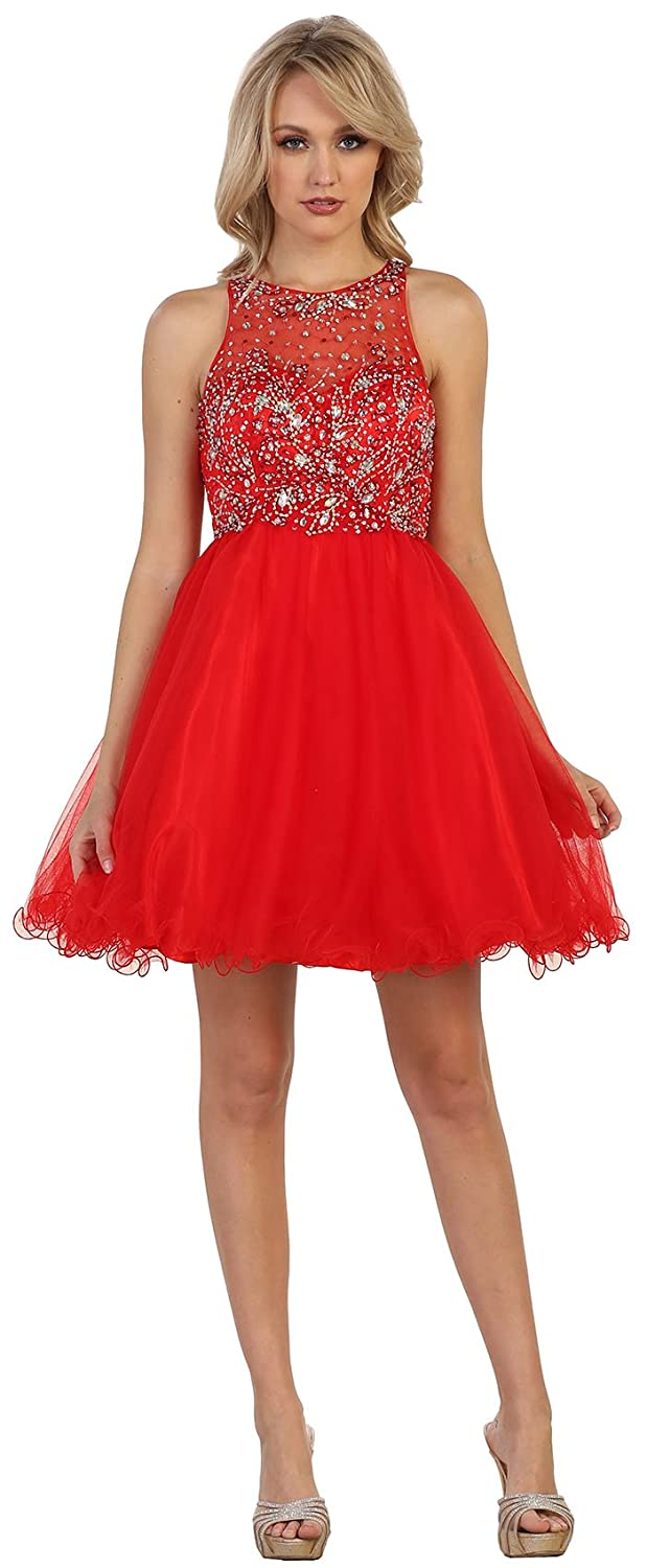 May Queen MQ1220 Semi Formal Dance Cocktail Dress - Red - 16: Amazon.co.uk: Clothing