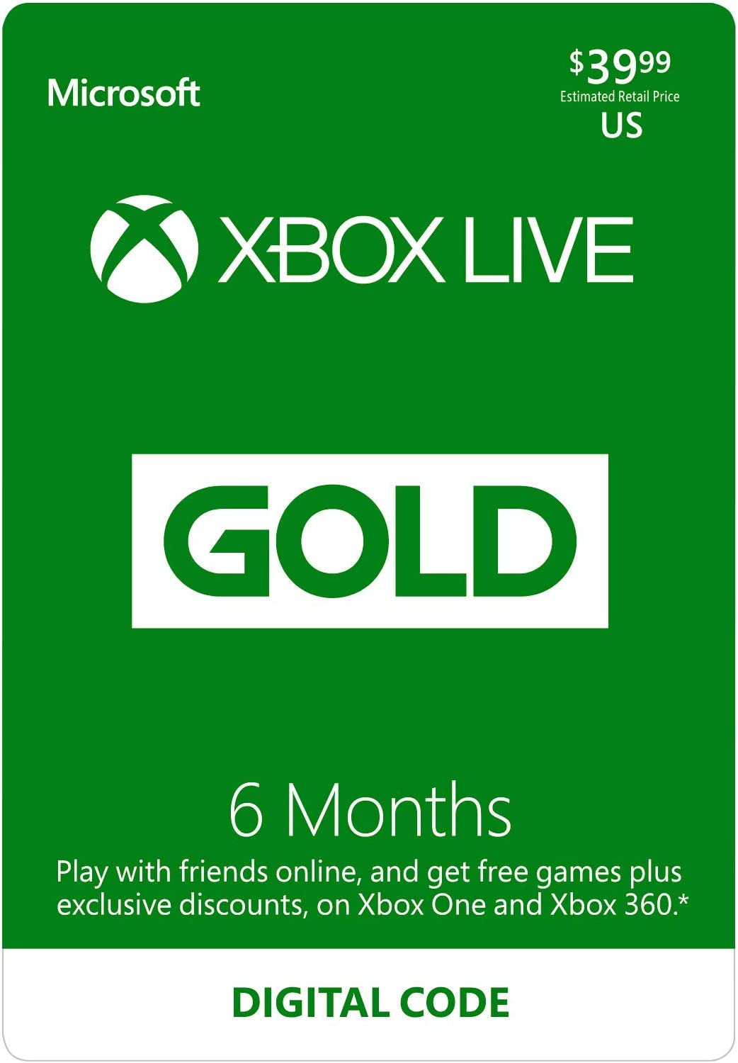 Amazon com: Xbox Live Gold: 6 Month Membership [Digital Code]: Video