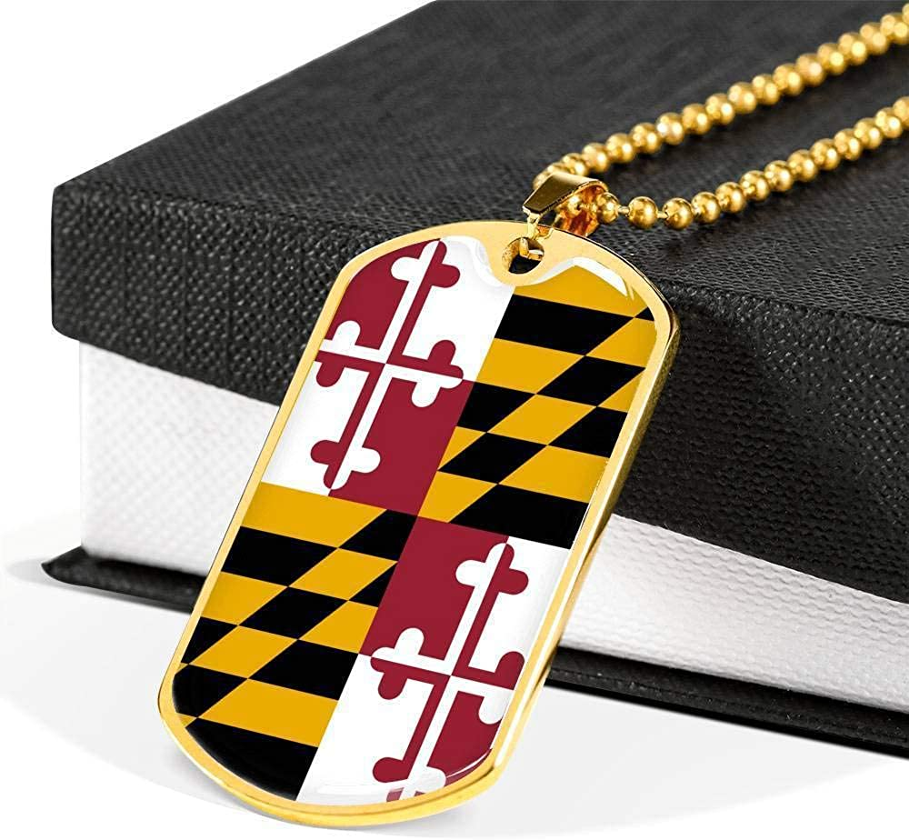 Maryland Flag Handmade Pendant Necklace Stainless Steel or 18k Gold Dog Tag w 24
