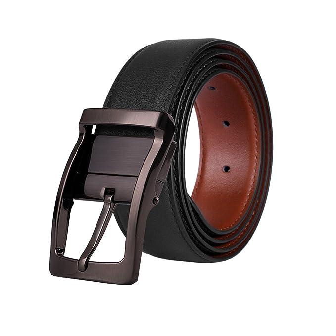 M.R Cinturón Hombre Cuero de Piel Negro Marrón Clásico con Reversible Hebilla Giratoria 33mm XYxoWiWC