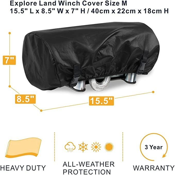FEIPARTS Universal 600D Waterproof Soft Electric Winch Cover 9500-17000lbs