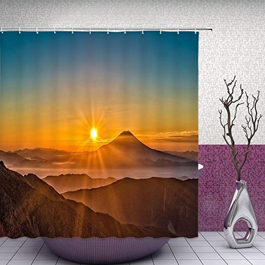 Bathroom Waterproof Fabric Shower Curtain Set Sunset Scene House Mountain Flower